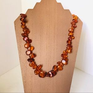 BALTIC AMBER GRADUATED FLAT NUGGET NECKLACE